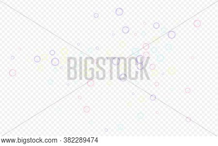 Rainbow 3d Circle Air Transparent Background. Effect Round Sphere Pattern. White Liquid Soapy Ball B
