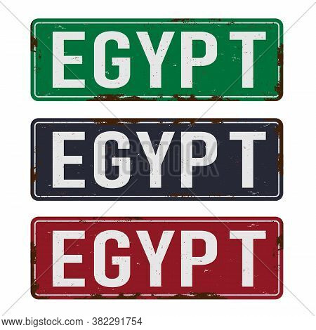 Egypt Road Sign Plate On White Background. Country License Plate Serie.