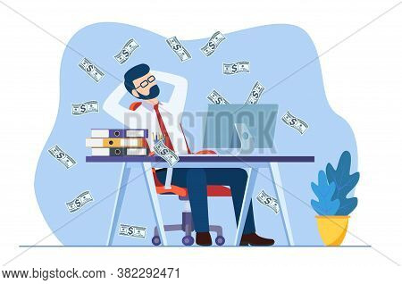Businessman Sitting On The Office Desk Workplace Under Money Rain Banknotes Falling. Pay Check, Easy