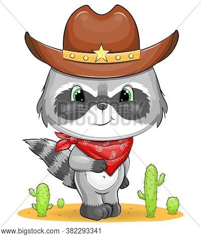 Cute Cartoon Cowboy Raccoon In Cowboy Hat And Scarf. Vector Illustration Of Animal With Cactus.