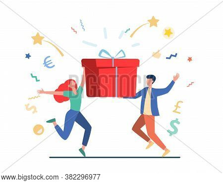Couple Winning Prize. Man And Woman Holding Gift Box Flat Vector Illustration. Lottery, Present, Bir