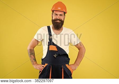 Engineer Builder In Uniform. Man Builder Hard Hat. Renovating Home Opportunity To Refresh Expand And