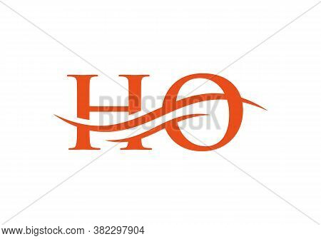 Water Wave Ho Logo Vector. Swoosh Letter Ho Logo Design For Business And Company Identity.