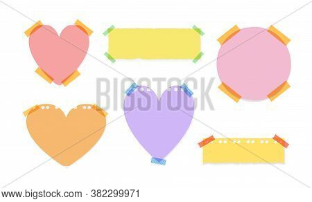 Vector Collection Of Different Memo Adhesive Stickers, Colored Paper, Blank Frames Templates Isolate