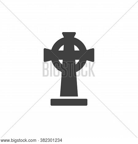 Tombstone With Cross Vector Icon. Filled Flat Sign For Mobile Concept And Web Design. Catholic Heads