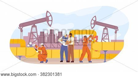 Oil Or Gas Pipeline Service Vector Flat Illustration. Engineer And Oilman Looking To Professional Do