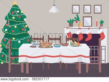 Christmas Dinner Table Flat Color Vector Illustration. Traditional New Year Celebration Banquet. Sto