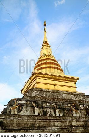 The Main Chedi Of Wat Phra That Chang Kham Worawihan Temple, Historic Place In Mueang Nan District,