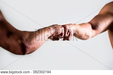 Hands Of Man People Fist Bump Team Teamwork, Success. Man Giving Fist Bump. Team Concept. People Bum