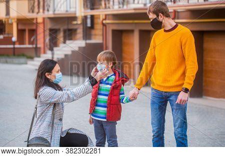 Coronavirus, Illness, Infection, Quarantine, Medical Masks, Covid-19. Mom Dad And Sat Down Went For