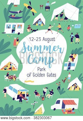 Colorful Poster Of Summer Camp With Place For Text Vector Flat Illustration. Announcement Template F