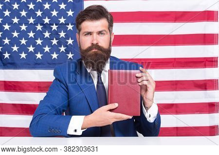 Handsome Lawyer Man Promoting American Constitutional Liberties, Learn Constitution Concept.