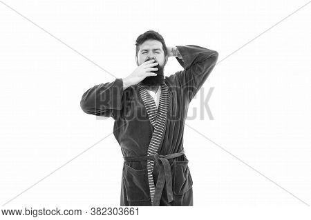 Feeling Sleepy. Sleepy Hipster Yawn Isolated On White. Bearded Man Look Sleepy In Bathrobe. Early Mo