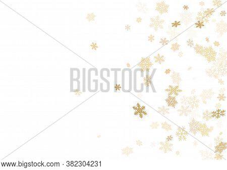 Winter Snowflakes Border Cool Vector Background.  Macro Snowflakes Flying Border Design, Holiday Car