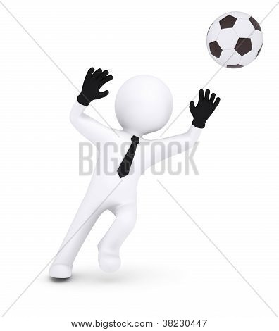 3D Human With Gloves Goalkeeper Catches A Football