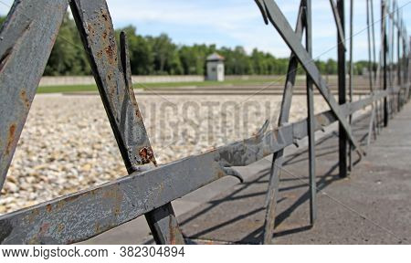 Dachau, Germany On July 13, 2020: Fence Of The Jewish Memorial At The Nazi Concentration Camp In Dac