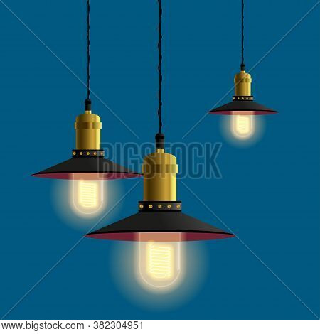 Hanging Lamps For Retro, Vintage Or Loft Interior. Old Lamps With Luminous Light Bulb. Vector Eps10