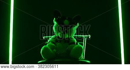 Toy Bear Dressed In Leather Belts Harness Accessory For Bdsm Games On A Dark Background