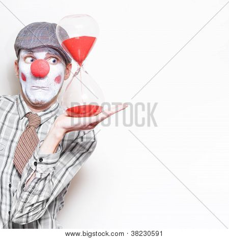 Business Countdown Clown Holding Deadline Timer