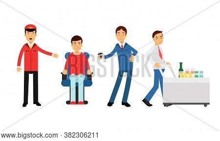 Pilot And Steward Character On Board Aircraft During Flight Serving Drinks To Passengers Vector Illu