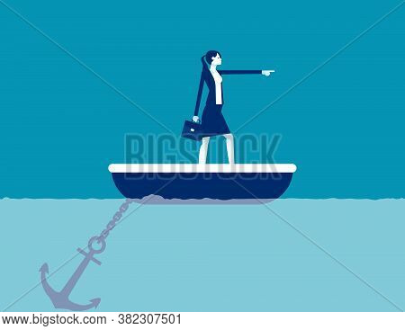 Big Anchor Stuck On The Seabed. Business Pointing Forward