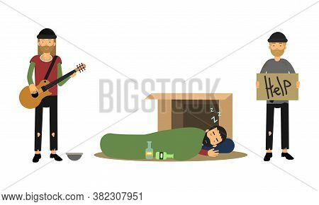 Homeless Bearded Male Sitting With Cardboard Sign Begging For Help Vector Illustration Set