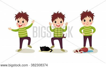 Naughty Boy Teasing Putting Out Tongue And Breaking Vase Vector Illustration Set