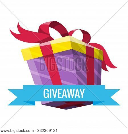 Giveaway Winner Present. Gift Poster For Social Media Post. Holidays And Shopping Giveaway Gifts Pro