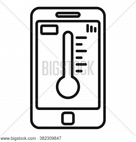 Smartphone Temperature Control Icon. Outline Smartphone Temperature Control Vector Icon For Web Desi