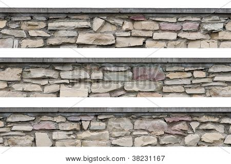 Panoramic Stonewall, Stone Fence Panorama, Isolated Limestone Dolomite