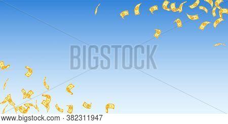 Korean Won Notes Falling. Sparse Won Bills On Blue Sky Background. Korea Money. Delightful Vector Il