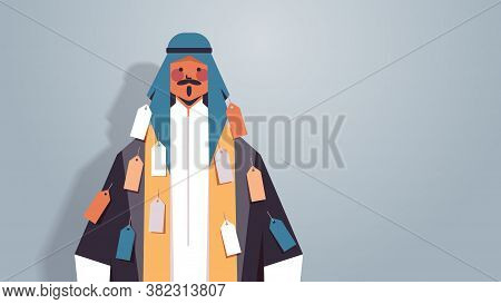 Arab Man With Tags Labels On Wear Inequality Racial Discrimination Concept Arabic Cartoon Character