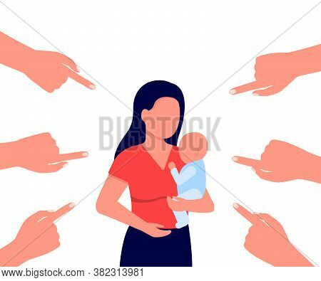 Concept Of Shame, Ridicule, Discussion Of Mom With Child. Mother With Baby In Her Arms And Pointing