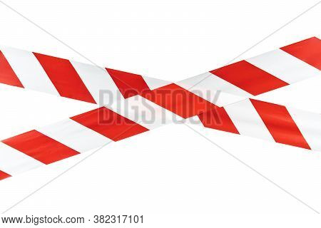 Red And White Warning Caution Tape Isolated On White Background With Clipping Path. Red And White Li
