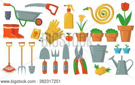 Garden Tools Set. Rake, Shovel, Bucket, Cutter, Fork, Gloves, Potted Plant, Cart, Hose, Gumboots Ill