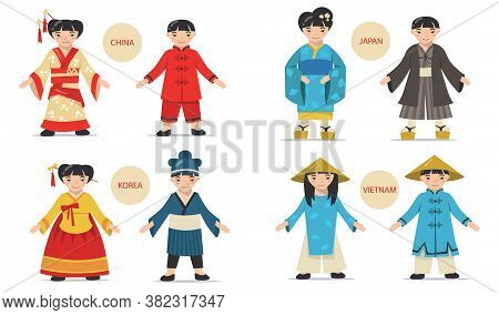 Traditional Asian Couples Set. Cartoon Chinese, Japanese, Korean, Vietnamese Men And Women Wearing N