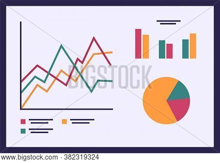 Business Diagram Graph Chart Flat Illustration. Presentation Board With Digital Indicators In Differ