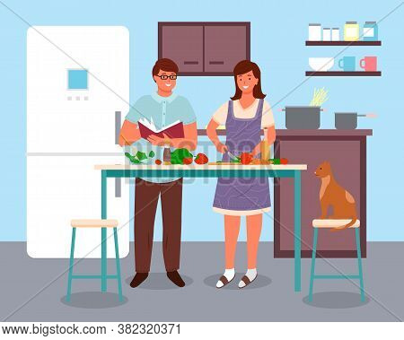 Couple Man And Woman Characters Preparing Food Together At Home In Kitchen Room Interior Flat Style.
