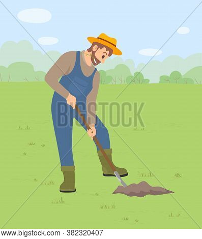 A Man Harvesting, Digging A Crop Works In A Field Or Garden. Illustration Of A Man Dressed As A Farm