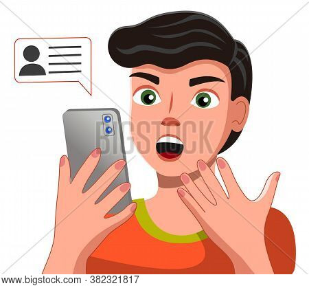 Handsome Young Man In Casual T-shirt Talking On The Smartphone With Chat Bubble Vector Illustration