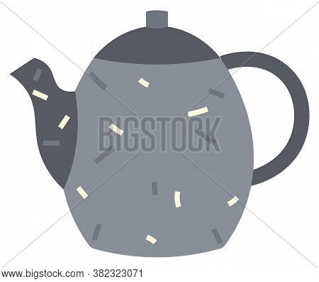 Teapot Or Kettle Isolated On White Background. Utensil For Kitchen, For Drinking Tea. Dotted Blue Te