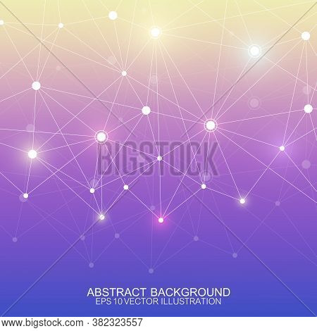 Abstract Polygonal Background With Connected Lines And Dots. Minimalistic Geometric Pattern. Molecul