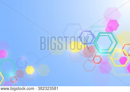Abstract Medical Background. Dna Research. Hexagonal Structure Molecule And Communication Background