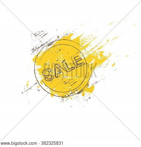 Sale Banner. Stamp On A Yellow Smear Of Paint Background Grunge Art Design Element Stock Vector Illu