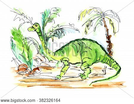 Watercolor Prehistoric Landscape. Cartoon Green Dinosaur Against Schematically Depicted Palm Trees.