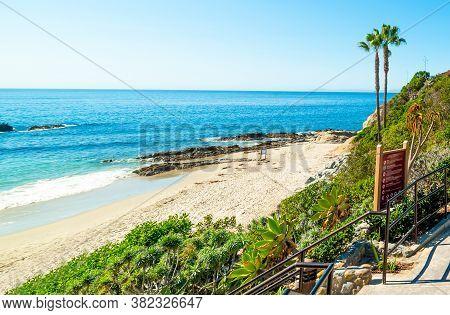 Blue Sea In Laguna Beach On A Sunny Day. California, Usa