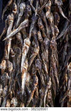 Bundles Of Dried Salted Goby Or Bullhead Fish For Sale At Outdoors Seafood Market
