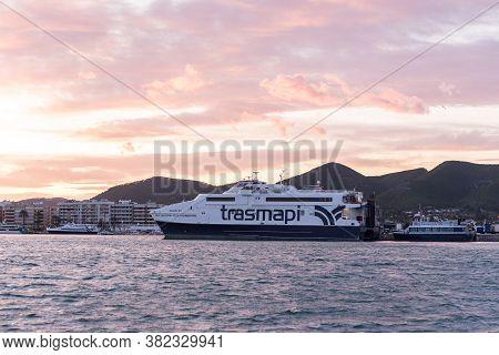 Ibiza, Spain : 2019 7 Setember : Boat Transmapi From Formetera In Dalt Vila From Marina Ibiza, Ibiza