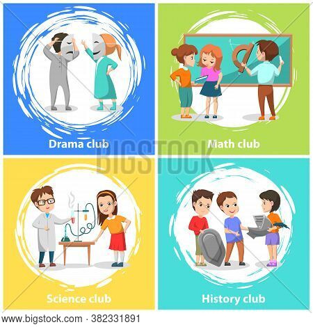 Drama And Math Club Vector, Back To School Concept. Flat Cartoon Of History And Science Lessons Of C