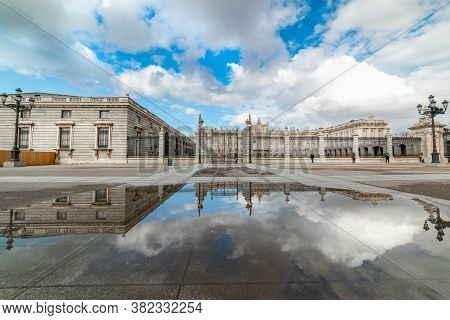Cloudy Sky Over Palacio Real In Madrid, Spain